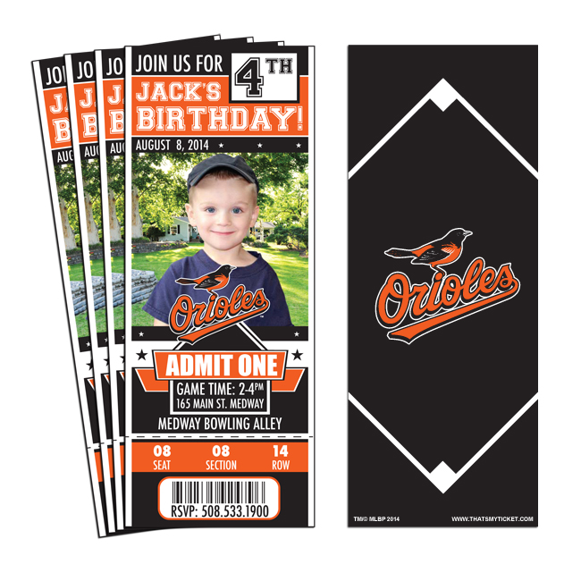 12) Custom Baltimore Orioles Birthday Party Ticket Invitations With