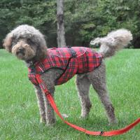 Dog Plaid Faux Fur Lined Winter Coat With Harness Opening ...