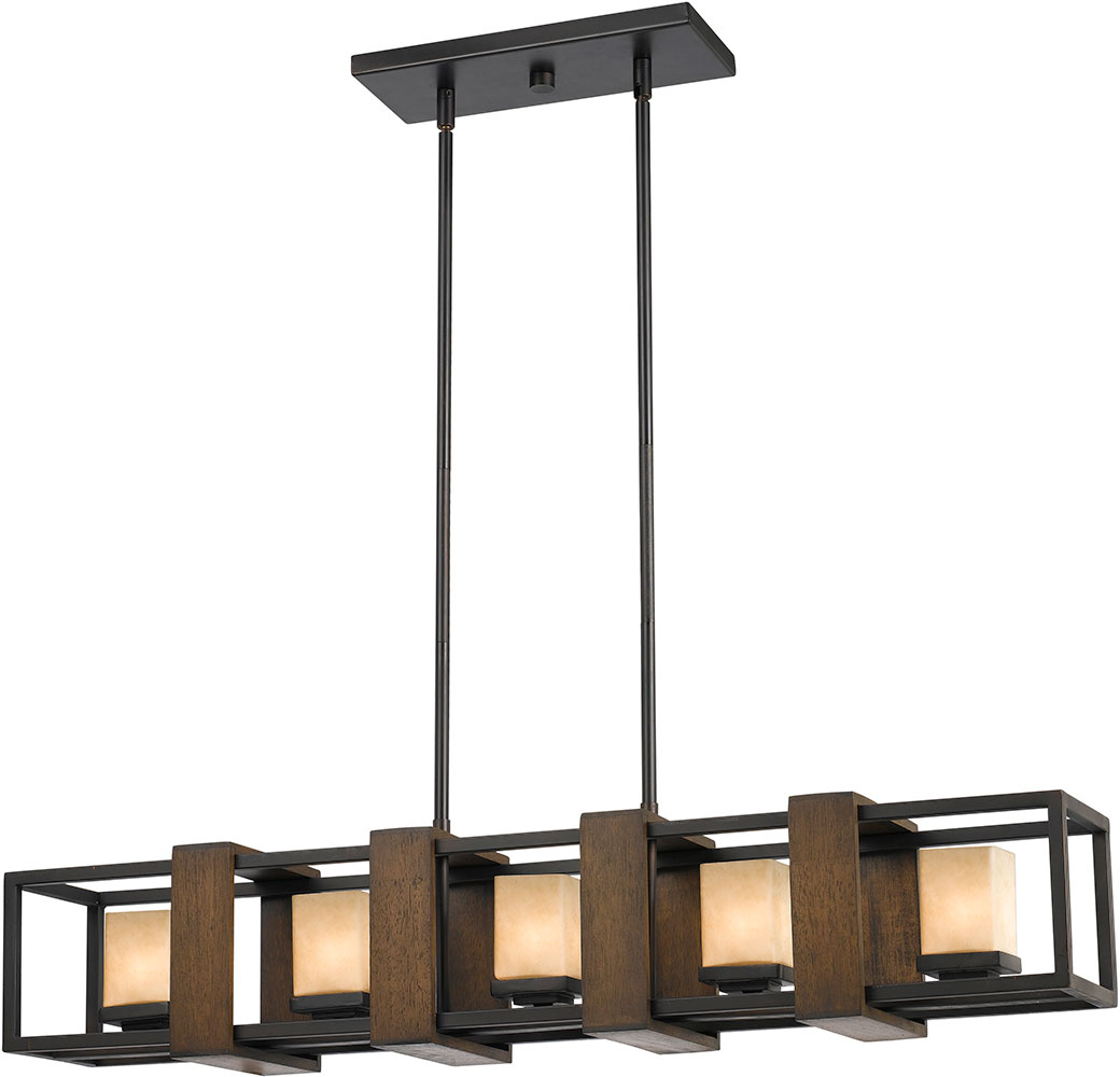 Modern Island Lighting Cal Fx 3588 5 Island Modern Wood Dark Bronze Halogen