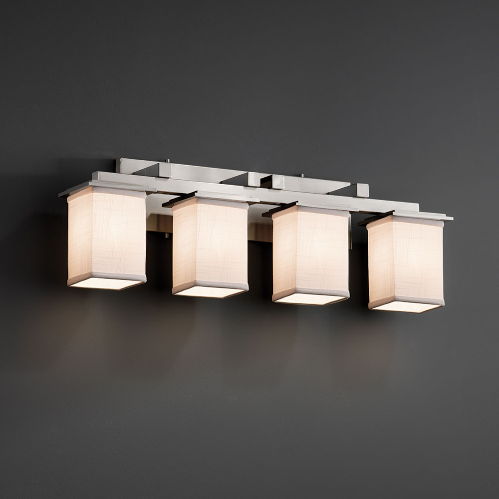 Justice design fab 8674 montana textile 4 light bathroom vanity light fixture loading zoom