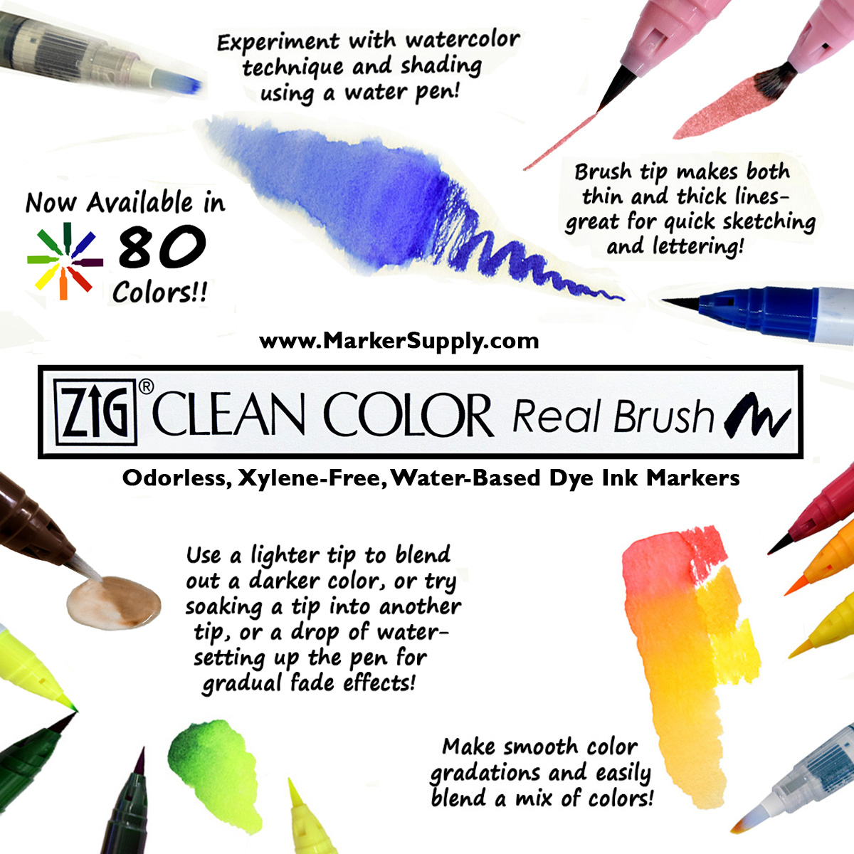 Colored Water Brush Zig Clean Color Real Brush Marker