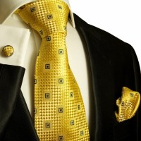 Black Suit Gold Tie