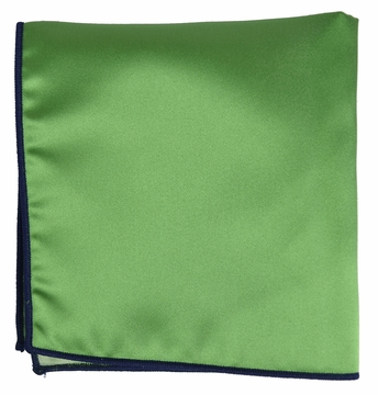 Solid Green Pocket Square with Navy Border - solid green border