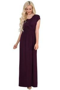 """""""Athena"""" Modest Maxi Dress w/Ruched Empire Waist in Deep ..."""