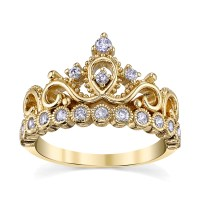 Yellow Gold-plated 925 Sterling Silver Crown Ring | Crown ...