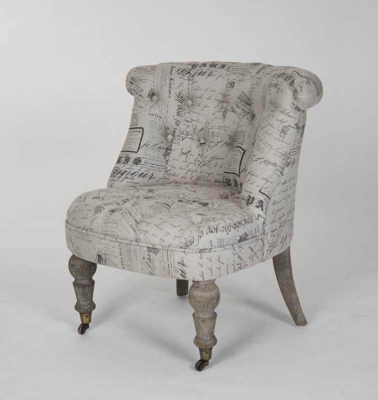 Amelie Slipper Chair French Script Fabric Zentique Chairs