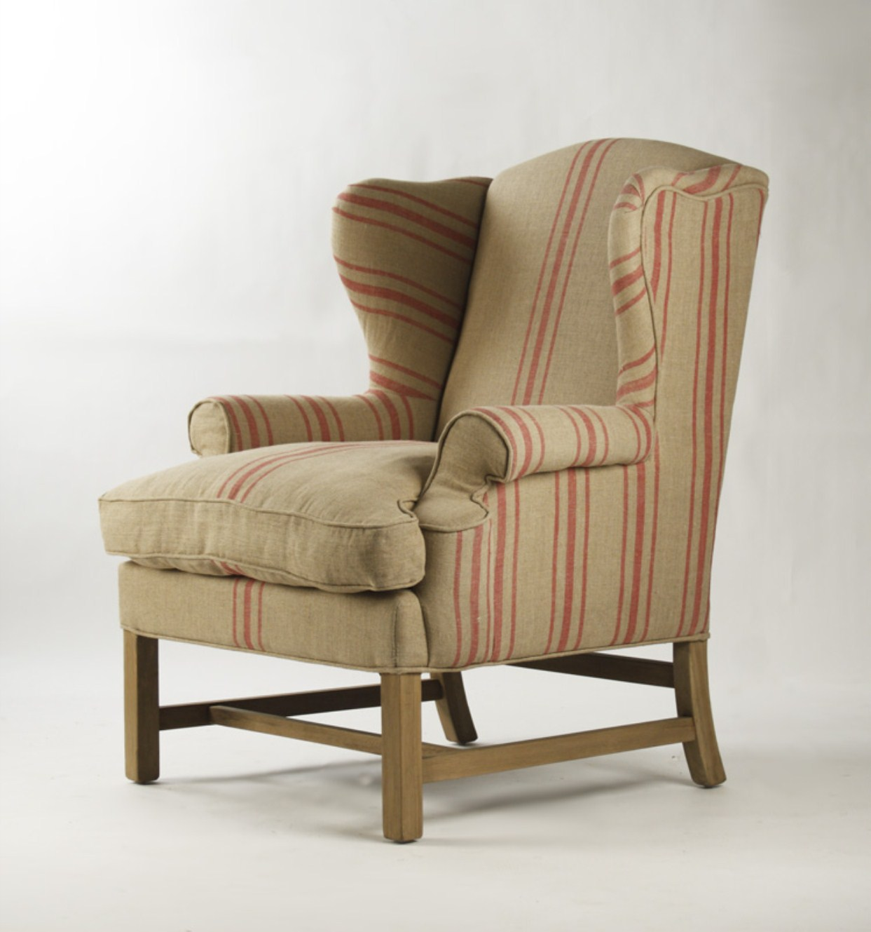 Red Striped Chair Fabien Club Chair English Kahki Linen With Red Stripe