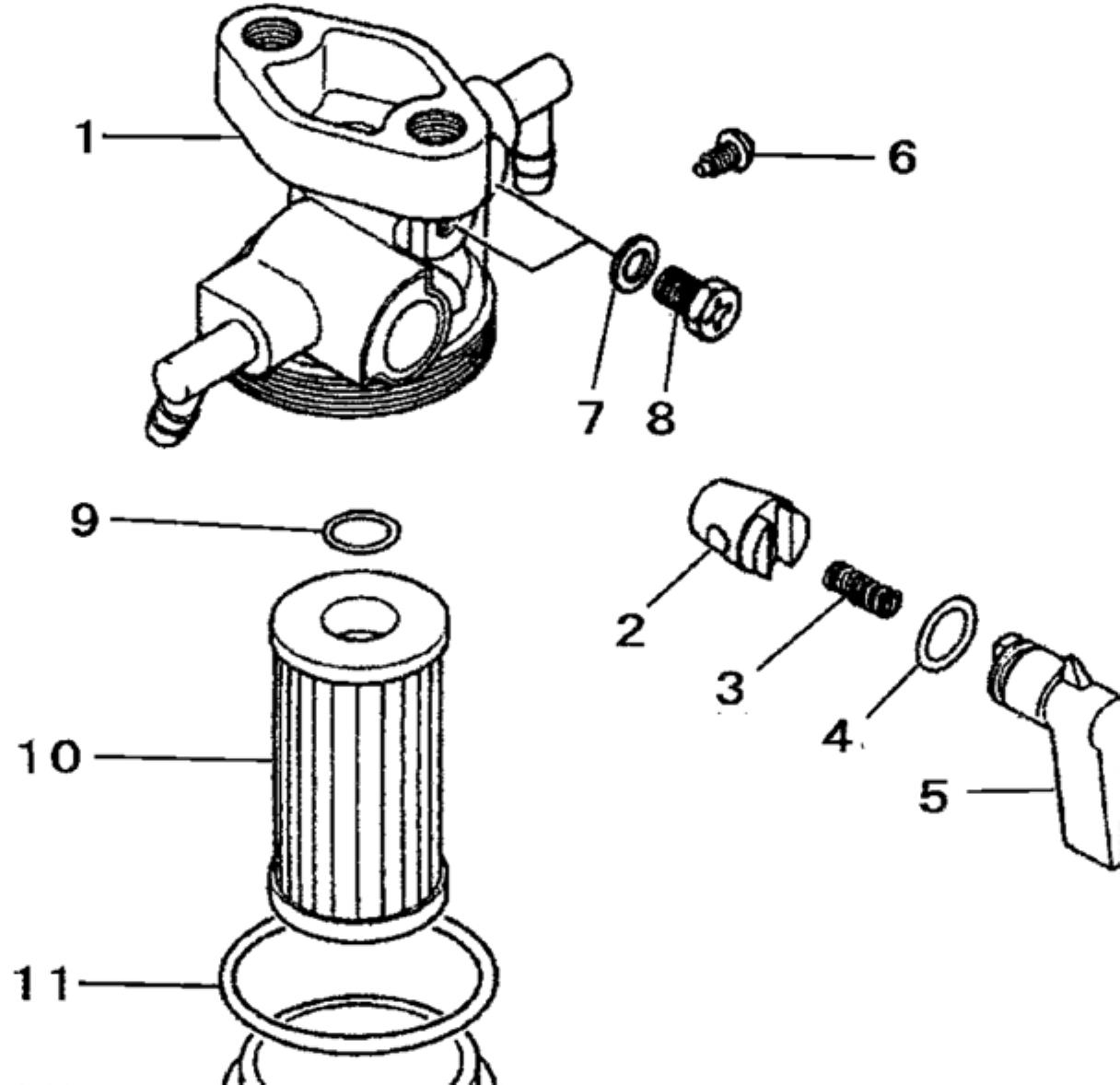 mitsubishi tractor fuel filter assembly