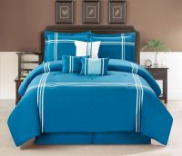 11 Piece 3 Line Ribbon Blue/White Bed in a Bag Set