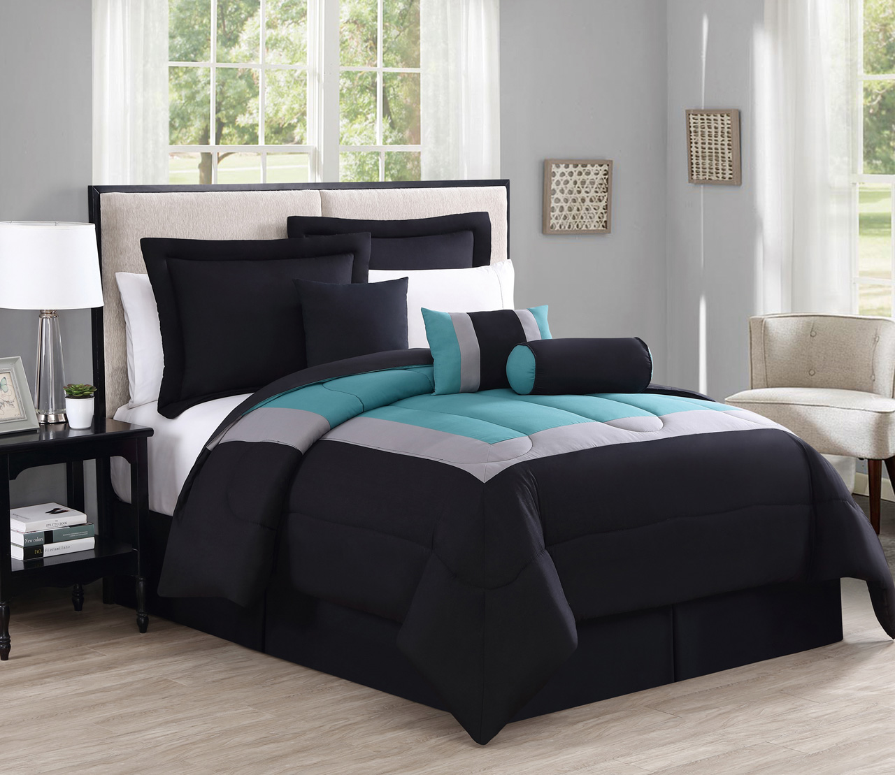Duvet And Comforter Sets 11 Piece Cal King Rosslyn Black Teal Bed In A Bag W 600tc Sheet Set