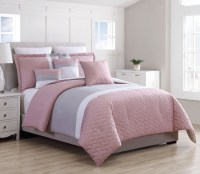 12 Piece Emma Pink/Gray Bed in a Bag Set