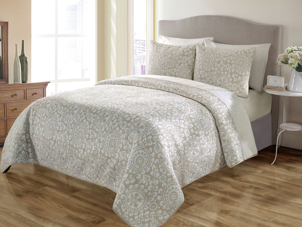 Quilt Sets 3 Piece King Sundance Taupe Quilt Set