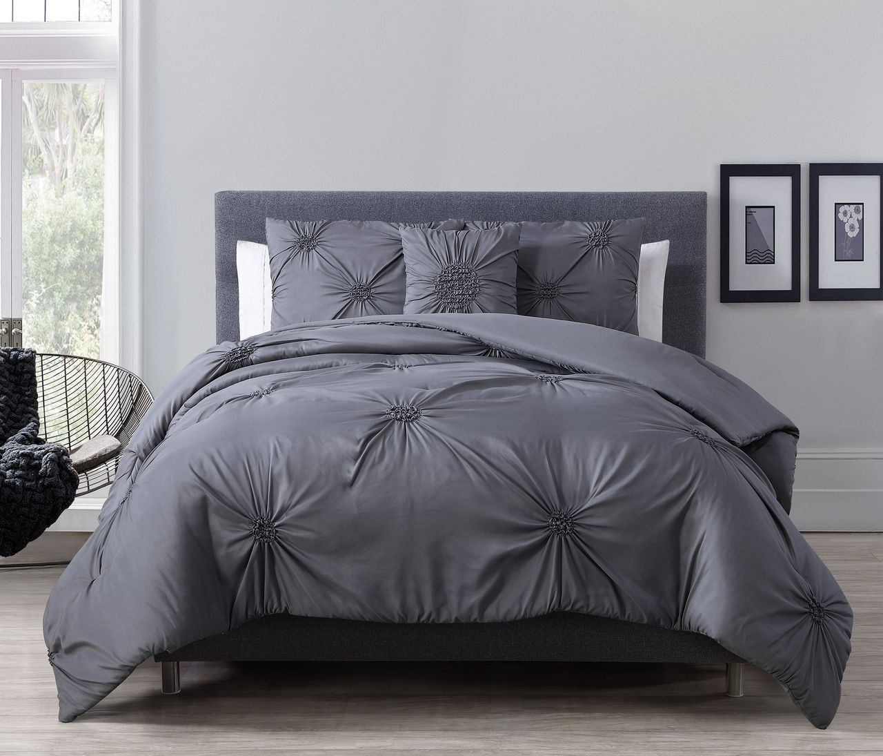 Charcoal Grey Bedding 4 Piece Paige Charcoal Gray Comforter Set