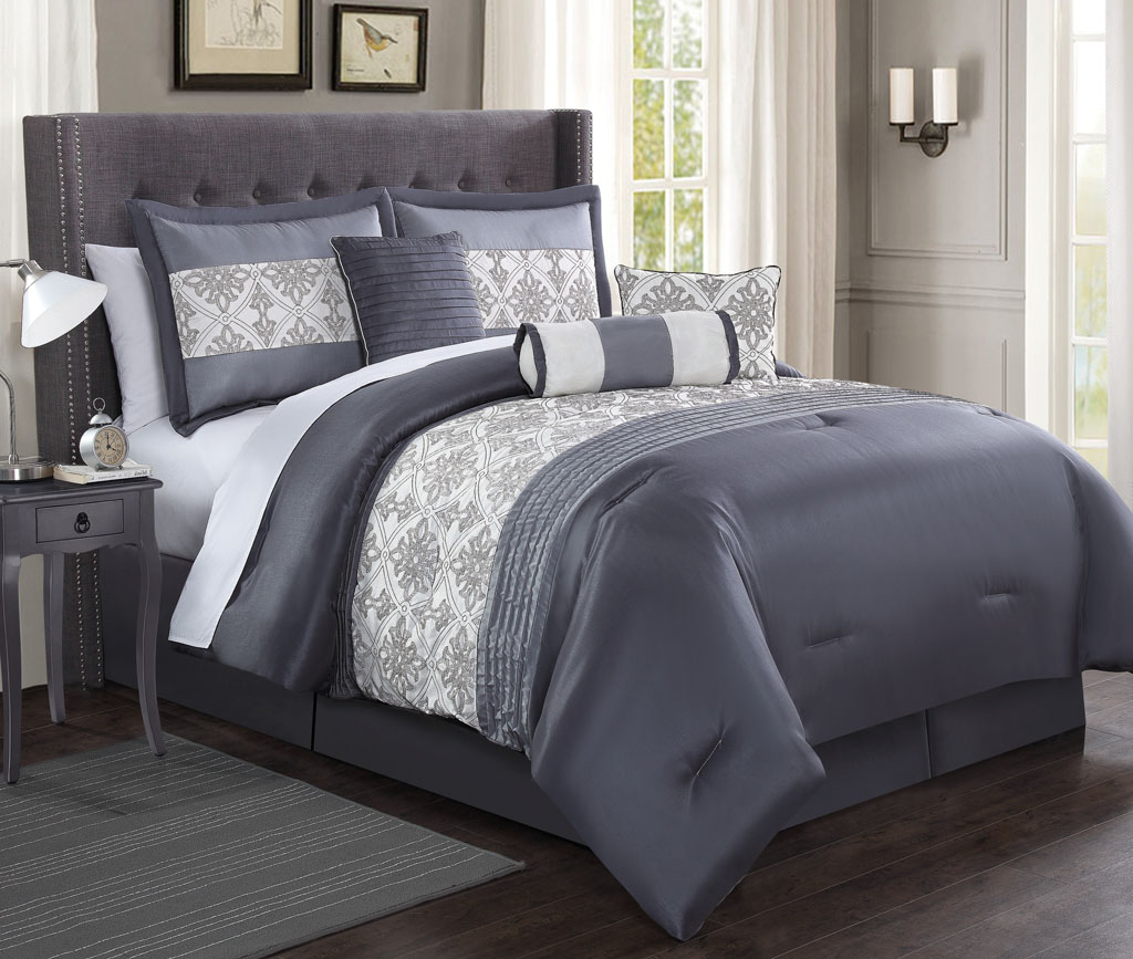 Charcoal Grey Bedding 7 Piece Ambrosia Charcoal Gray Ivory Comforter Set King