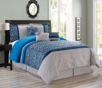 7 Piece Medallion Quilted Floral Navy/Gray Comforter Set
