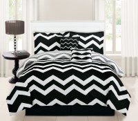 6 Piece Chevron Black Comforter Set
