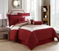 7 Piece Rosslyn Red/Taupe Comforter Set