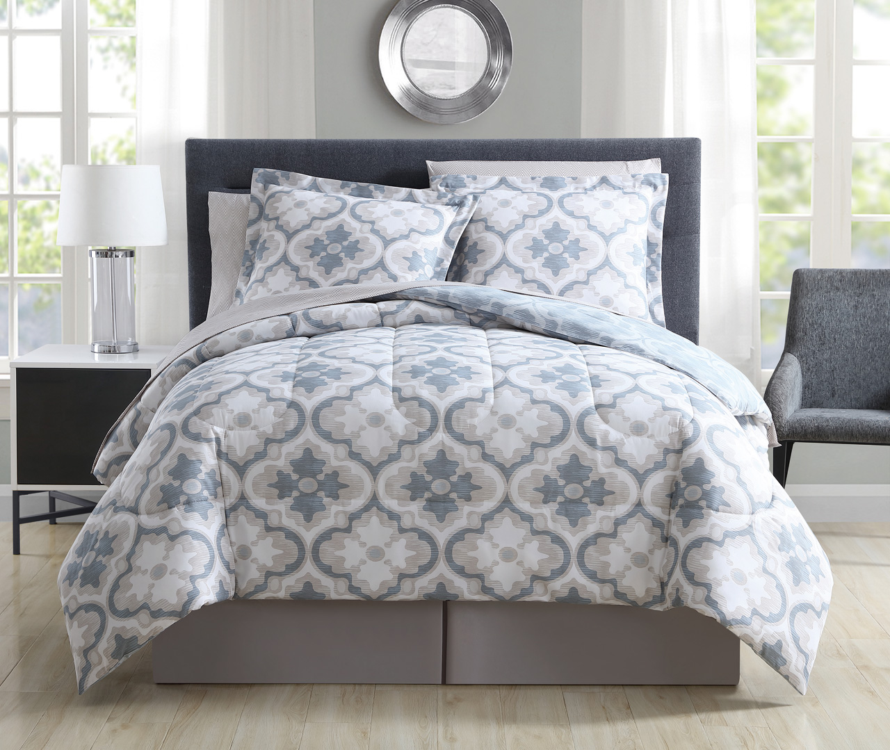 8 Piece Windbrook Stone/Denim Reversible Comforter Set