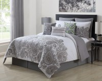 9 Piece Mona Gray/White 100% Cotton Comforter Set