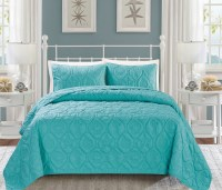 Seashell Turquoise Reversible Bedspread/Quilt Set