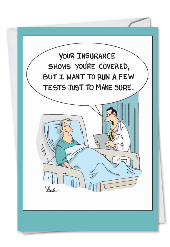 Insurance Tests Cartoons Get Well Paper Card Martin Bucella