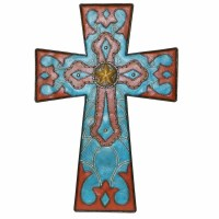Turquoise & Leather DeLeon Wall Cross