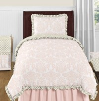 Blush Pink, Gold and White Amelia 4pc Twin Girls Bedding