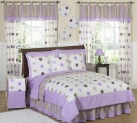 Purple and Brown Modern Dots Teen Bedding