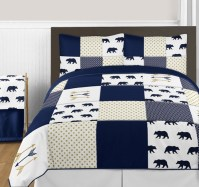 Navy Blue, Gold, and White Big Bear Boy Full / Queen ...