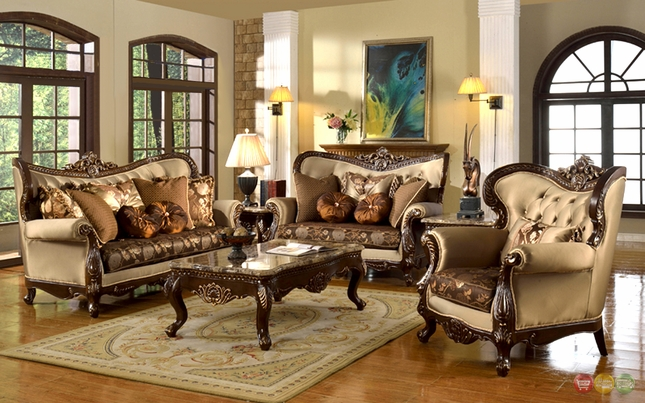 Style Traditional Formal Living Room Furniture Set Beige \ Brown - formal living room chairs