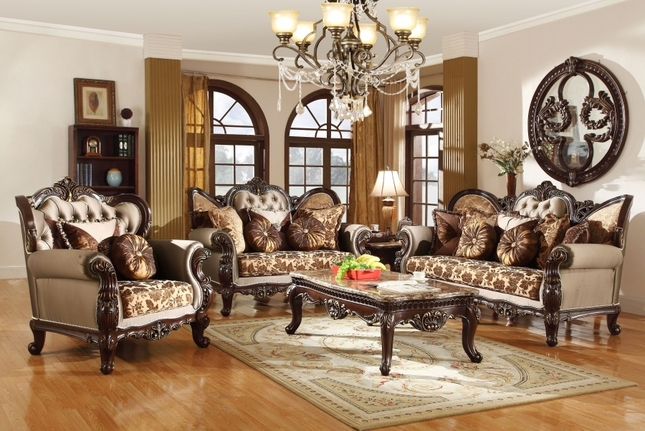 Style Wing Back Sofa \ Love Seat French Provincial Living Room Set - antique living room sets