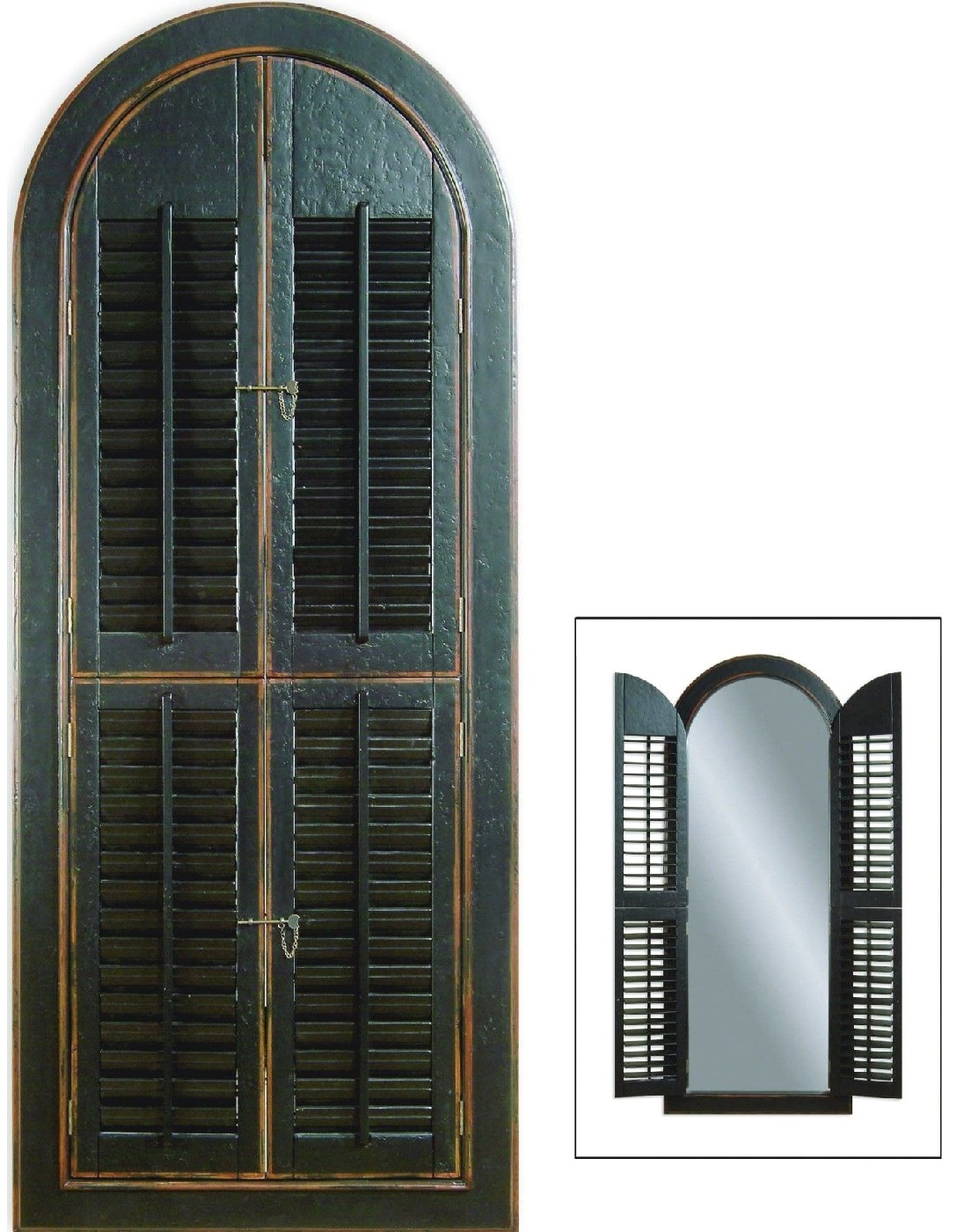 Arched Rustic Window Design Shutter Mirror M1925EC