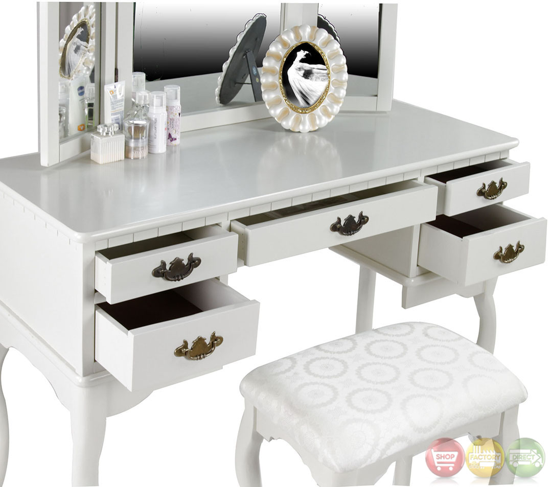 Metal Makeup Vanity Table Set Ashland Chippendale White Vanity Table With Bench