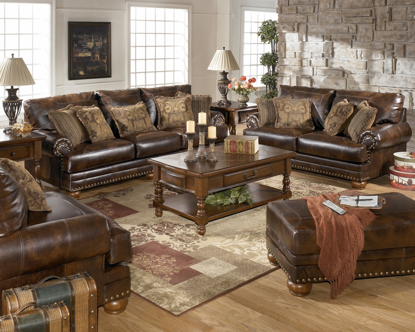 Leather Living Antique Leather Sofa Traditional Living Room Furniture Set