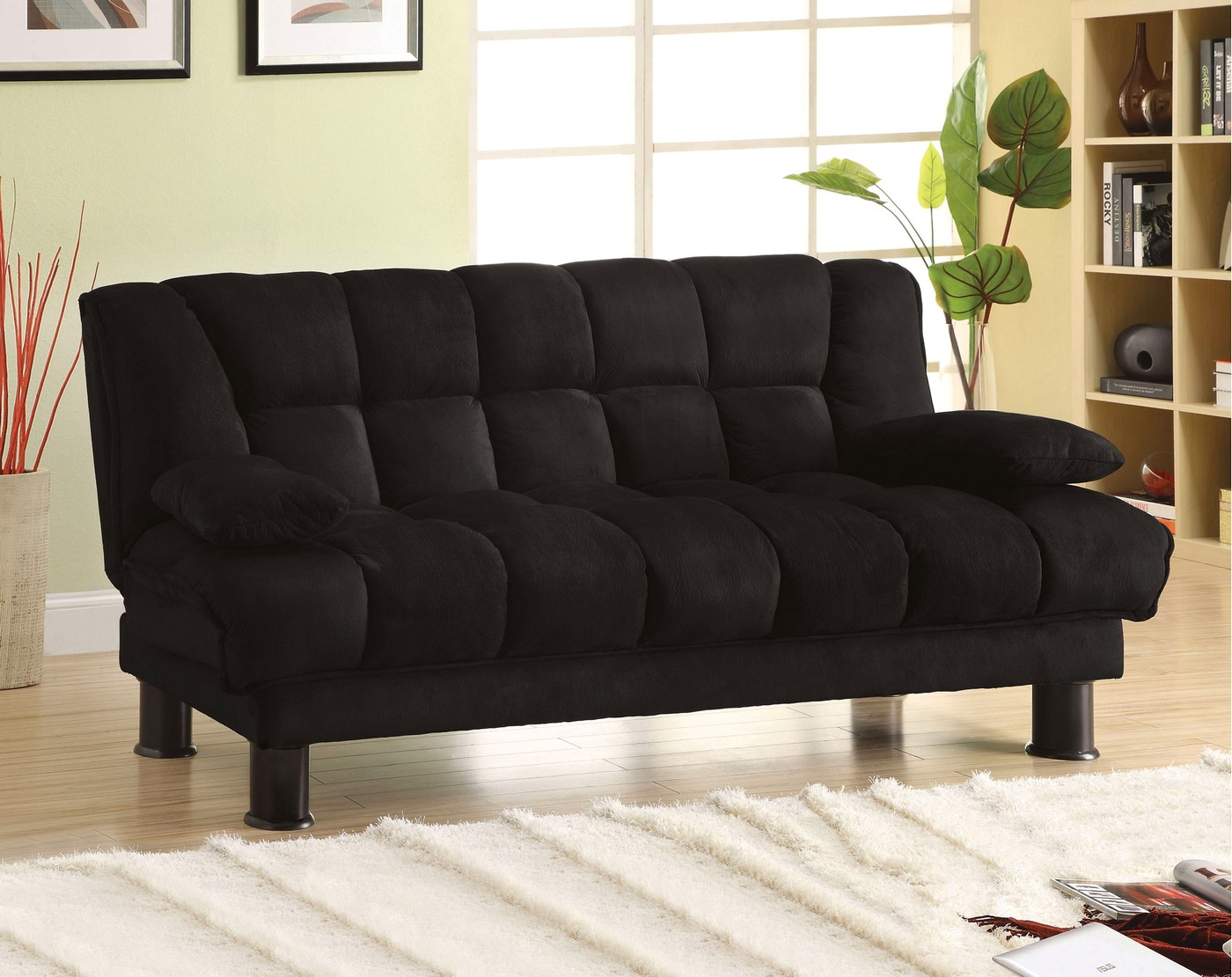 Modern Futon Bonifa Contemporary Black Futon Sofabed With Under-seat