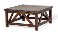 Brighton Rustic Square Coffee Table with Metal Top ...