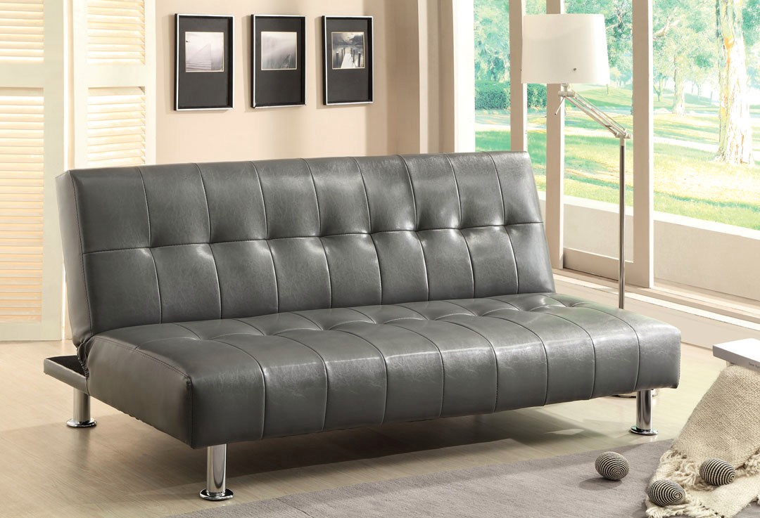 Modern Futon Bulle Contemporary Gray Futon Sofabed With Leatherette Or