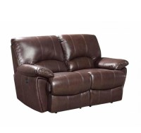 Clifford Dual Power Reclining Brown Top-Grain Leather Loveseat