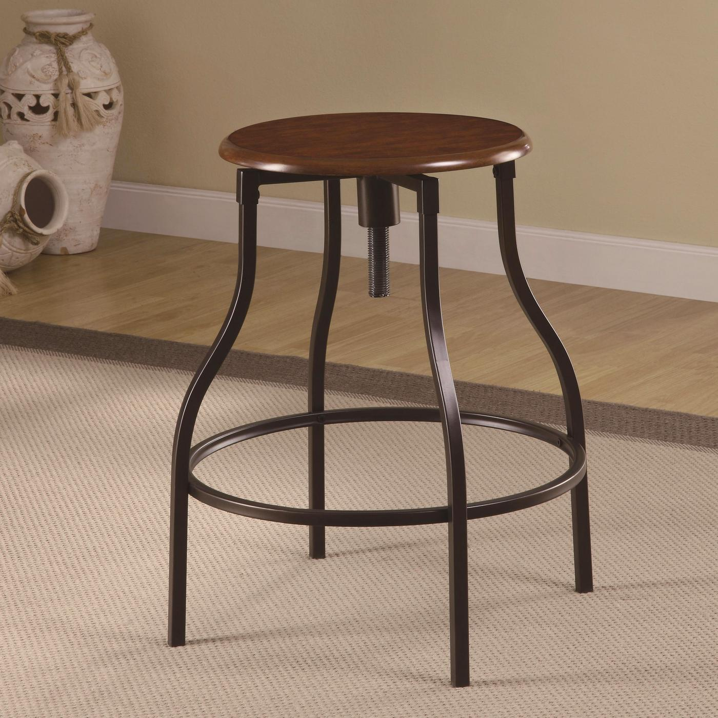 Contemporary Bar Stools Contemporary Adjustable Black Metal Leg Bar Stool