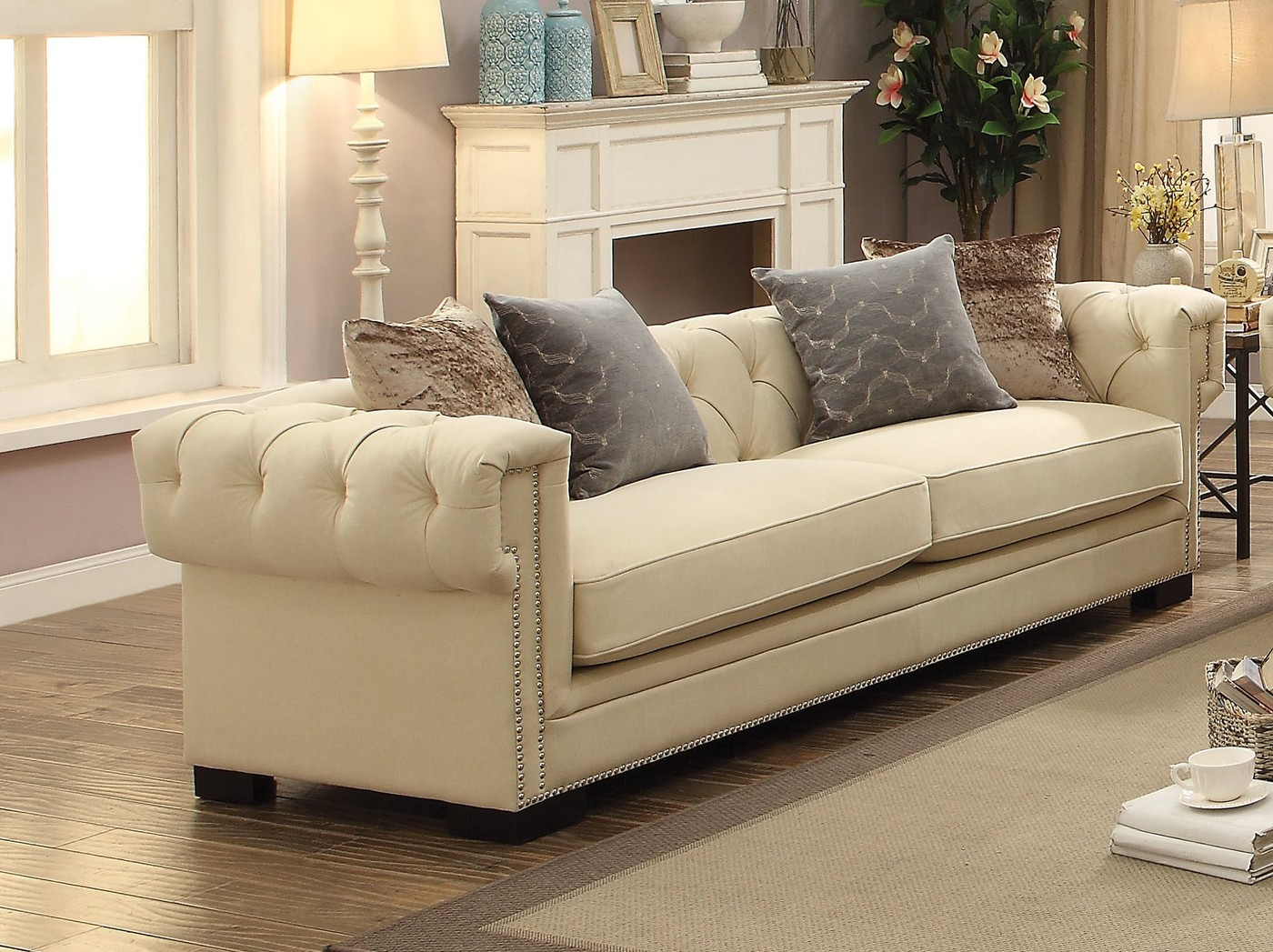 Creme Tufted Sofa In Sophisticated Cream Velvet With 8 Way - Sofa Creme