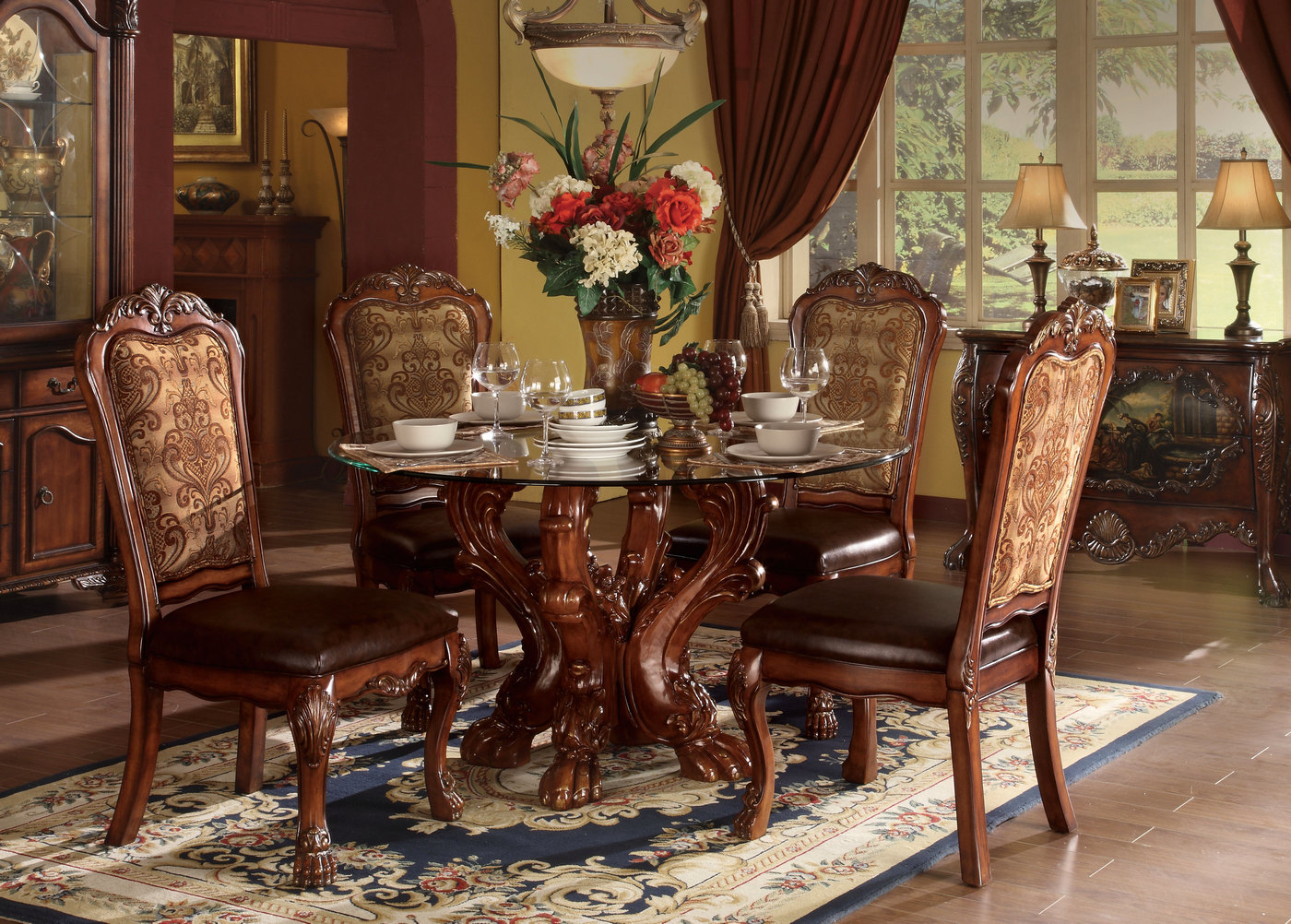 Dresden Carved Wood 5pc 54quot Round Glass Top Dining Table