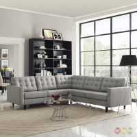 Mid-Century Modern Empress 3 Piece Button-Tufted Sectional ...