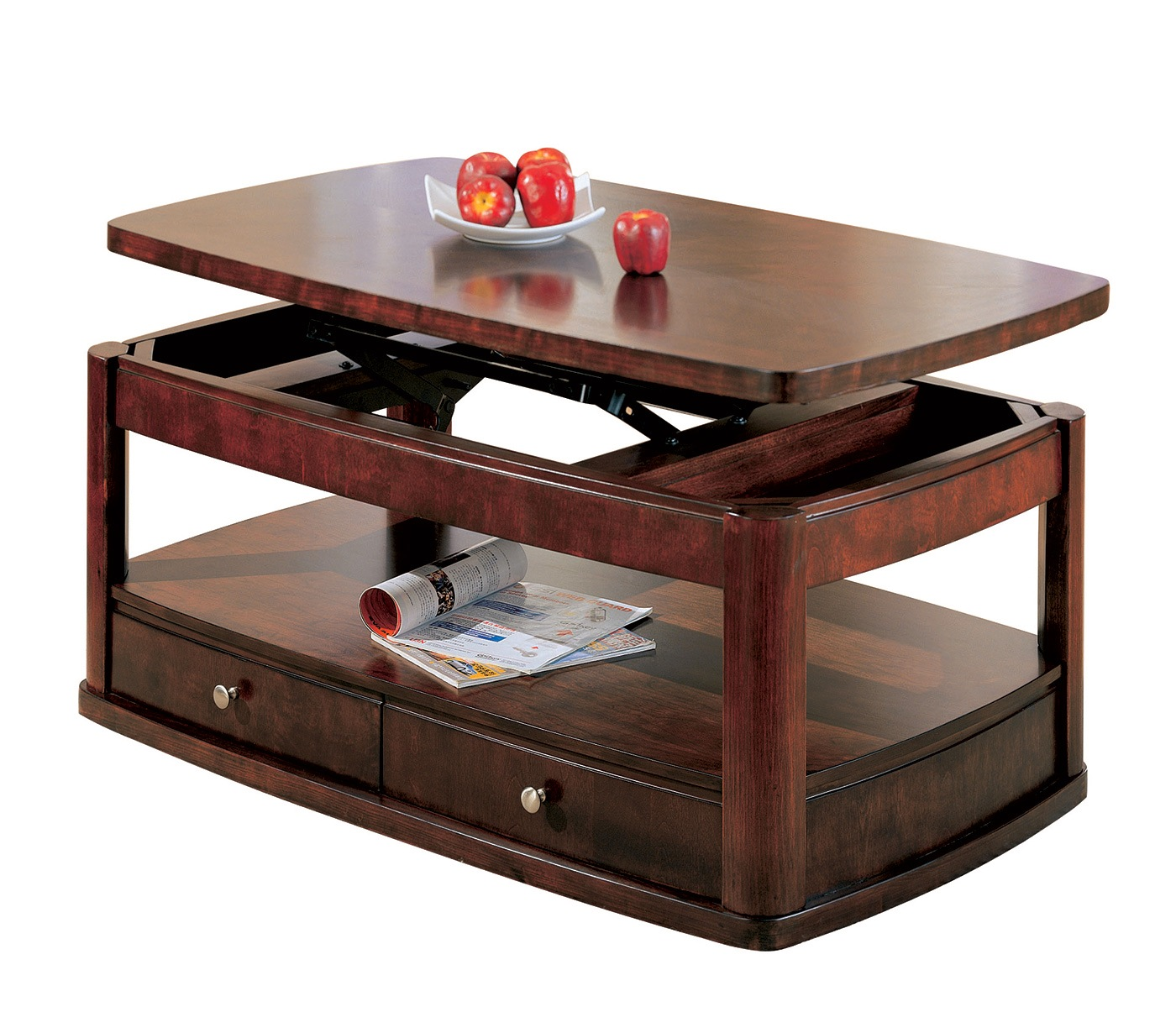 Coffee And End Tables With Storage Evans Merlot Coffee Table With Lift Top And Storage Drawers