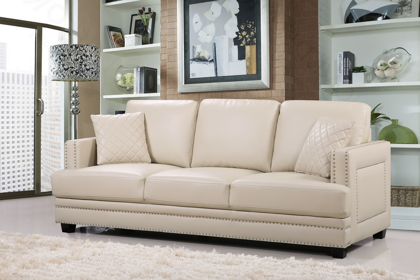 Beige Ledercouch Ferrara Opulent Beige Leather Sofa With Silver Nail Head