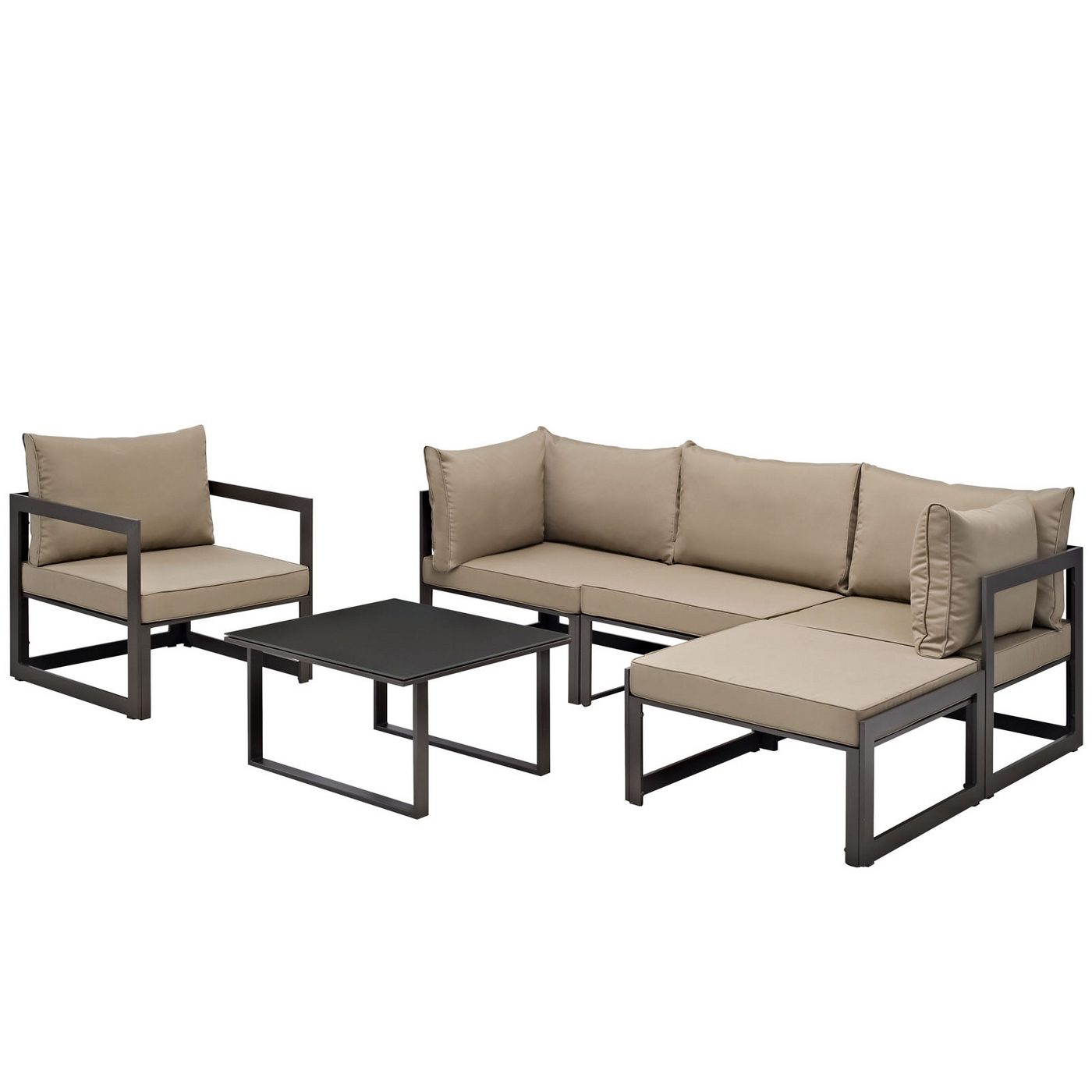 Ebay Sofa Sets Details About Fortuna 6 Piece Outdoor Patio Sectional Sofa Set W Upholstered Seat Brown Mocha