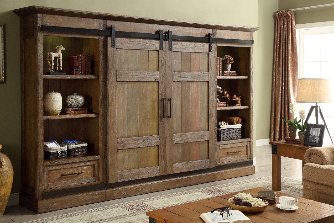 Pine Entertainment Unit Hunts Point Country Rustic Sliding Door Entertainment Wall