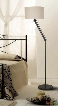 Hydra Bronze Tan Drum Shade Swivel Function Floor Lamp