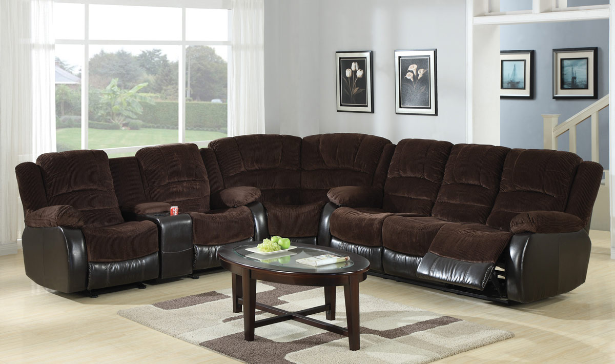 Corduroy Sofa Sectional Johanna Dark Brown Corduroy Reclining Sectional Sofa W