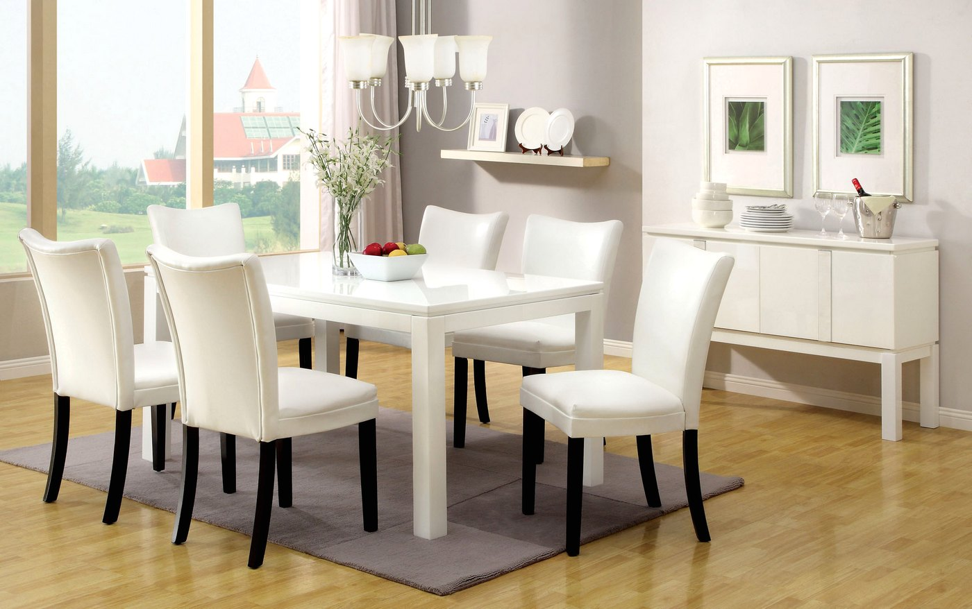 White Dining Table Set Lamia I Contemporary White Casual Dining Set With