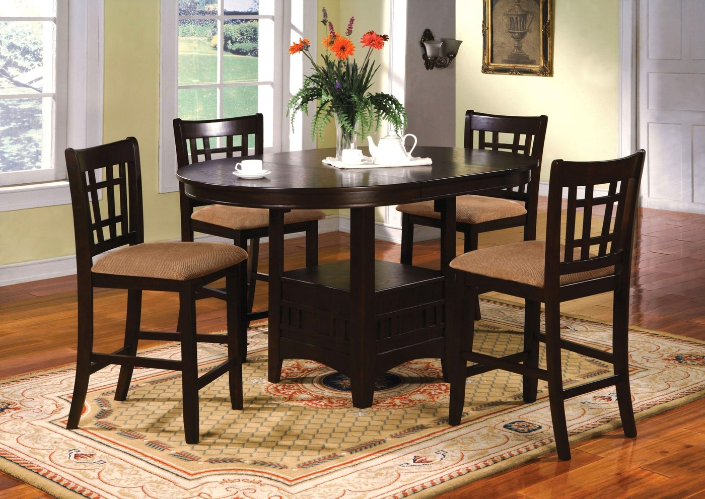 Dining Table Height Cm Metropolis Transitional Espresso Counter Height Dining Set